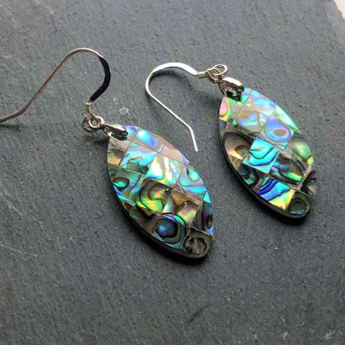 Paua Mosaic Earrings Long Oval PE03-MLV